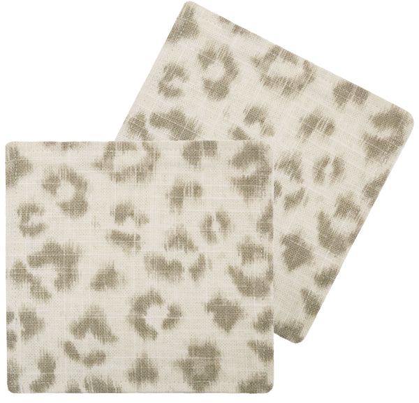 Cocktail Napkins :: Leopard Linen Print // Grey