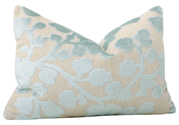 The Little Lumbar :: Blossom Cut Velvet // Spa Blue