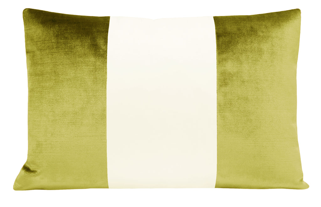 The Little Lumbar :: COLORBLOCK Faux Silk Velvet // Chartreuse