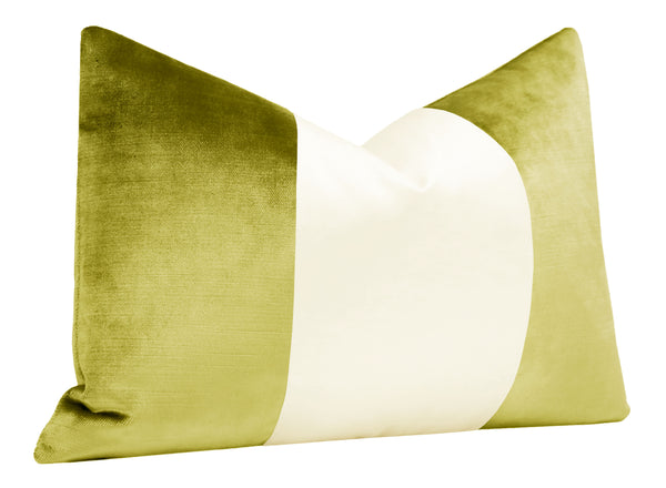 The Little Lumbar :: COLORBLOCK Faux Silk Velvet // Chartreuse BACKORDER