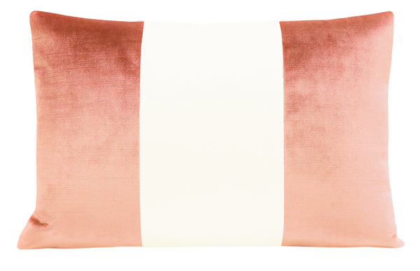 The Little Lumbar :: COLORBLOCK Faux Silk Velvet // Coral
