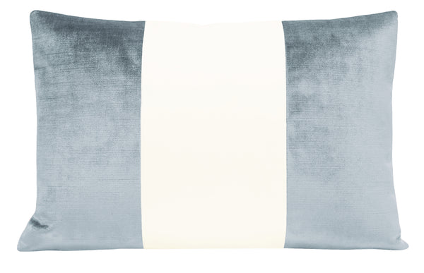 The Little Lumbar :: COLORBLOCK Faux Silk Velvet // Delft