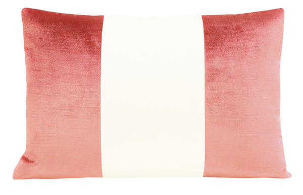 The Little Lumbar :: COLORBLOCK Faux Silk Velvet // Flamingo