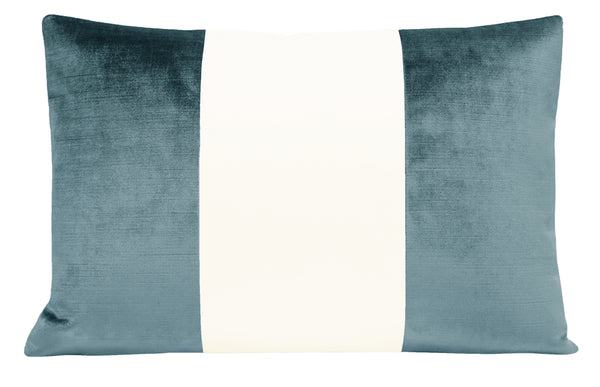 The Little Lumbar :: COLORBLOCK Faux Silk Velvet // French Blue