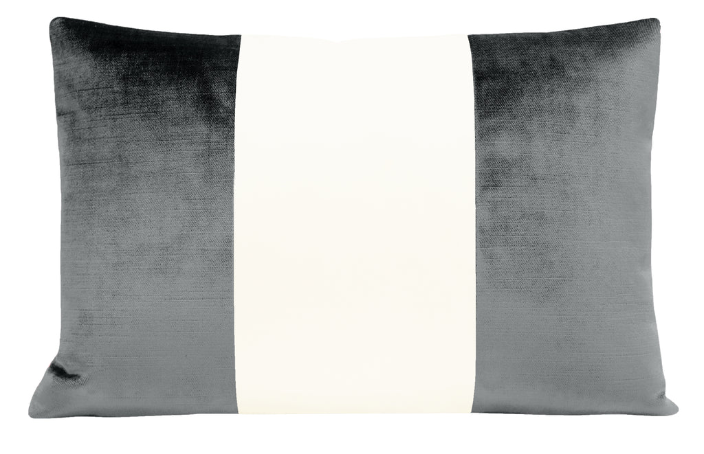 The Little Lumbar :: COLORBLOCK Faux Silk Velvet // Graphite