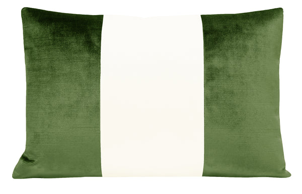 The Little Lumbar :: COLORBLOCK Faux Silk Velvet // Malachite