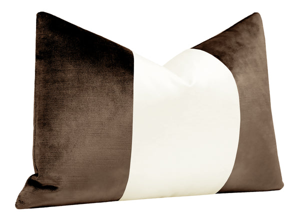 The Little Lumbar :: COLORBLOCK Faux Silk Velvet // Mocha