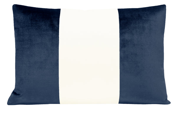 The Little Lumbar :: COLORBLOCK Faux Silk Velvet // Navy Blue
