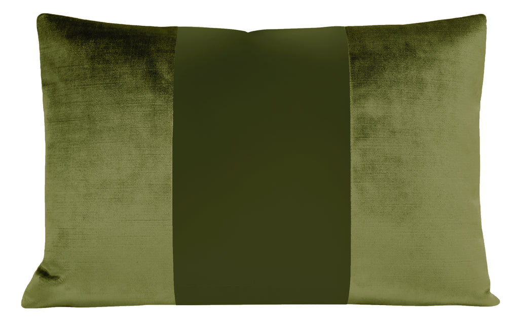The Little Lumbar :: MONOCHROMATIC Faux Silk Velvet // Olive