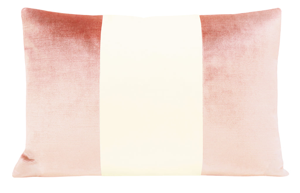The Little Lumbar :: COLORBLOCK Faux Silk Velvet // Pink Peony