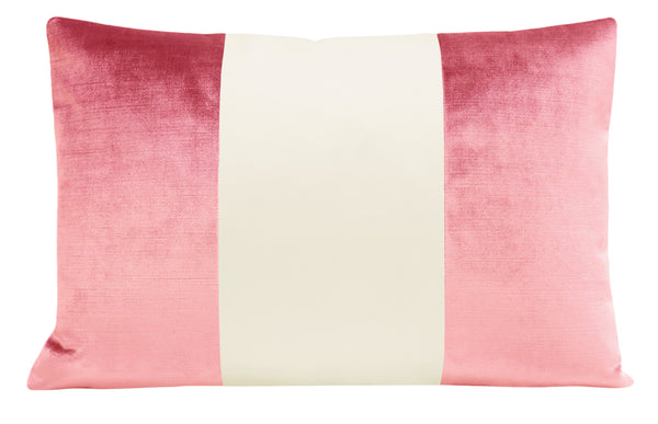 The Little Lumbar :: COLORBLOCK Faux Silk Velvet // Rose Pink