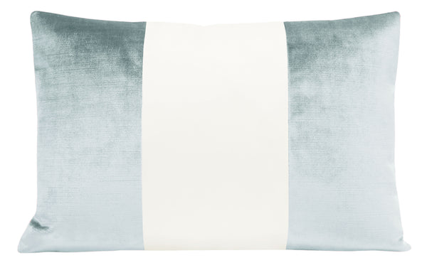 The Little Lumbar :: COLORBLOCK Faux Silk Velvet // Spa Blue