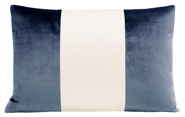 The Little Lumbar :: COLORBLOCK Faux Silk Velvet // Prussian Blue