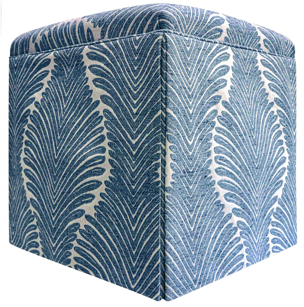 The Skirted Ottoman :: Musgrove Chenille // Sapphire BACKORDER