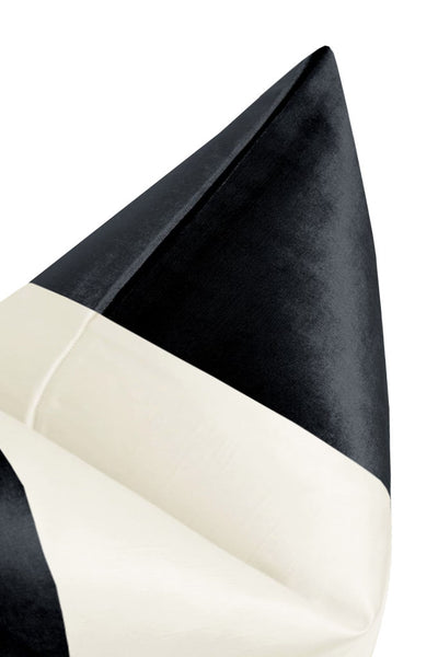 PANEL Colorblock :: Faux Silk Velvet // Noir + Alabaster Silk