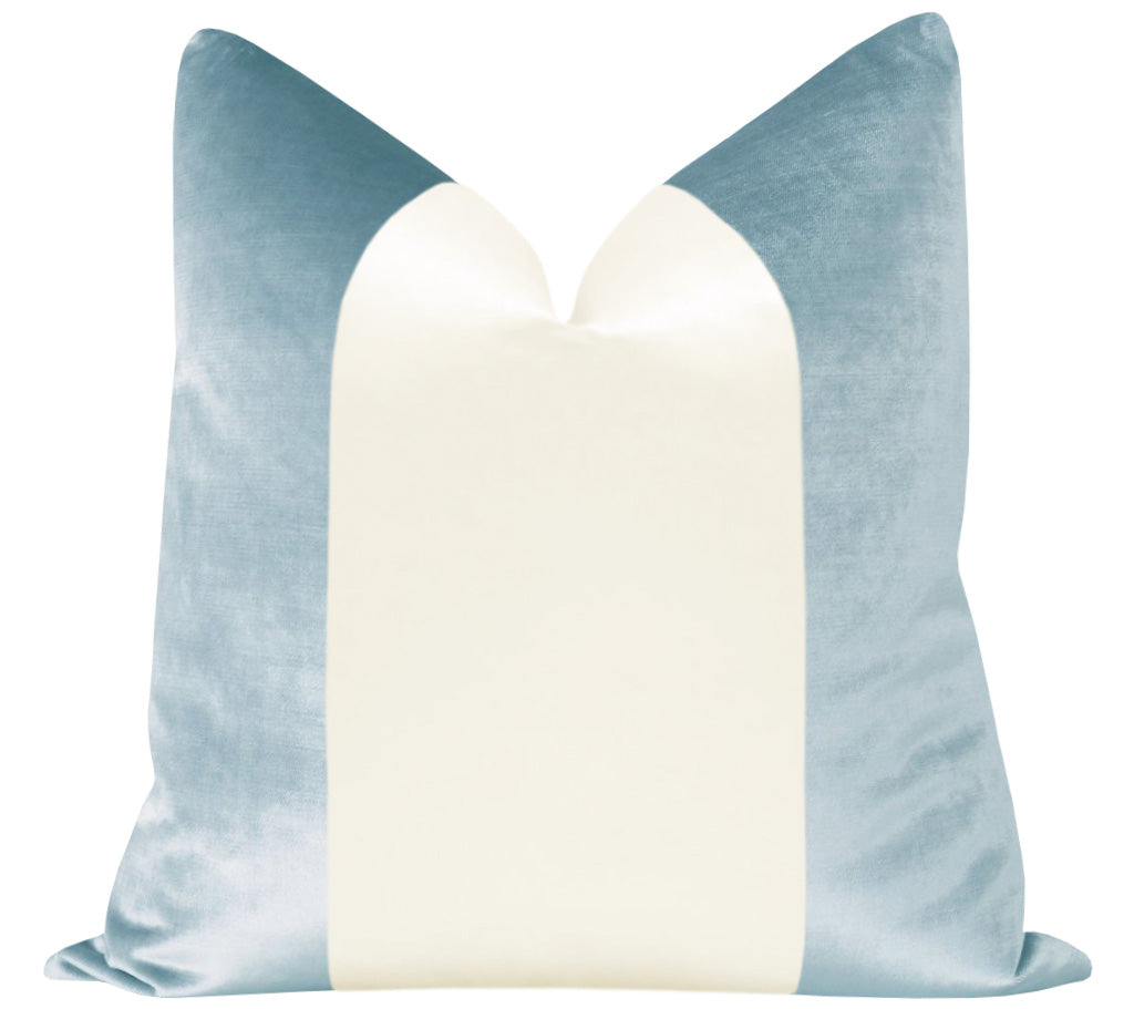 PANEL Colorblock :: Faux Silk Velvet // Sky Blue + Alabaster Silk