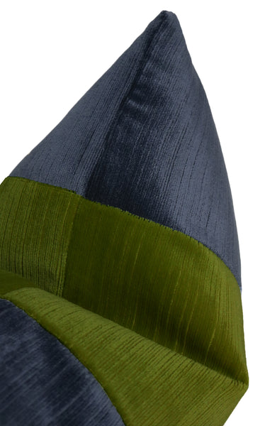 The Little Lumbar :: Strie Velvet // Navy Blue + Peridot