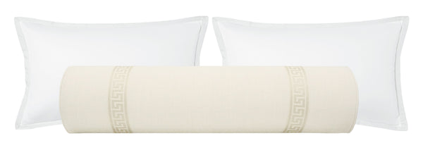 The Bolster :: Signature Linen // Bone + Greek Key Trim // Cashmere