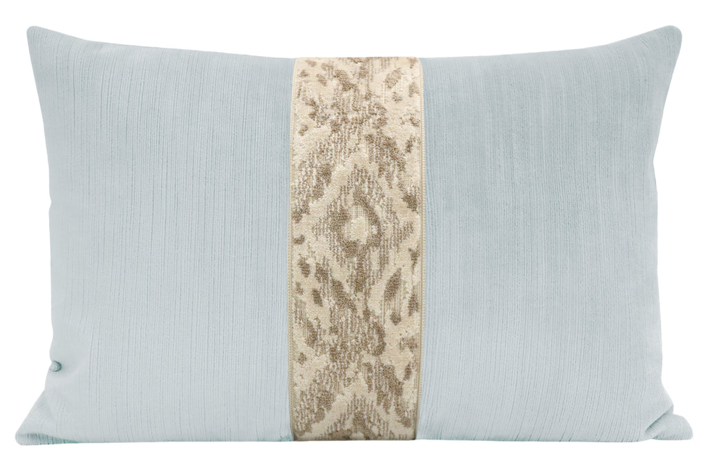 The Little Lumbar :: Strie Velvet // Mist + Bukhara Cut Velvet Trim // Cashmere