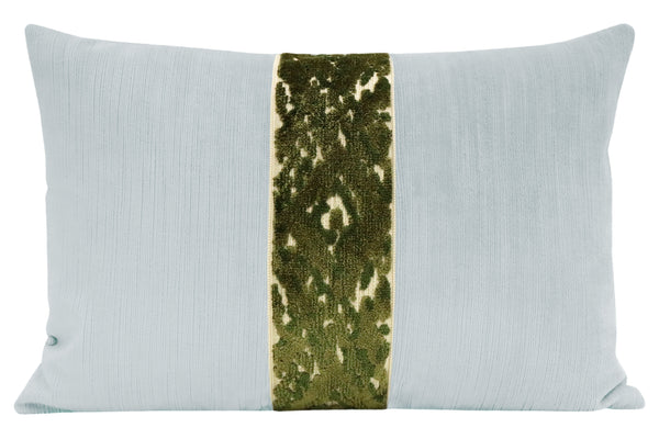The Little Lumbar :: Strie Velvet // Mist + Bukhara Cut Velvet Trim // Olive
