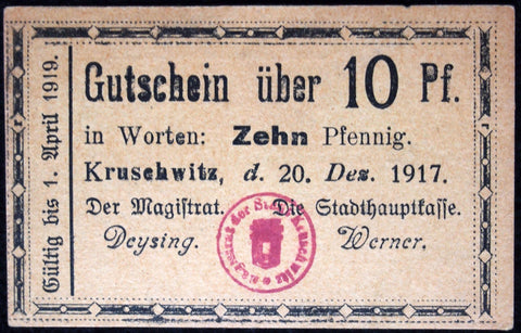 KRUSCHWITZ 1917 very rare 10 Pfennig small Notgeld Germany Posen Poland