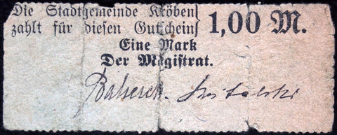 KRÖBEN 1914 1 Mark rare early Notgeld Posen Germany today Poland