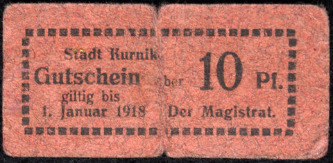 KURNIK ND-1918 10 Pf rare Notgeld Posen Germany today Poland