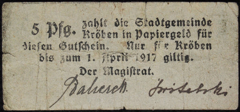 KRÖBEN 1916 5 Pf xtra-rare early Notgeld Posen Germany today Poland