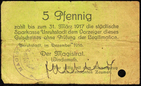 UNRUHSTADT 1916 5 Pf extra-rare early Notgeld Posen Germany today Poland