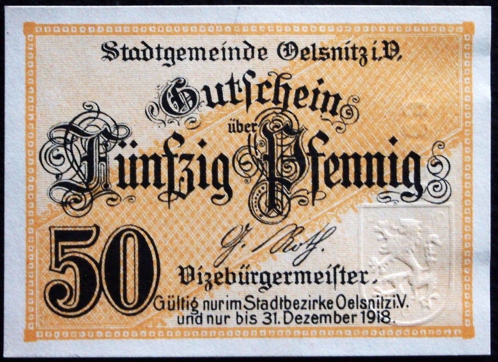 OELSNITZ 1918 50 Pf circulating German Notgeld