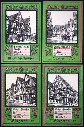 "CELLE 1922 ""Historic Homes"" rare complete green set German Notgeld"