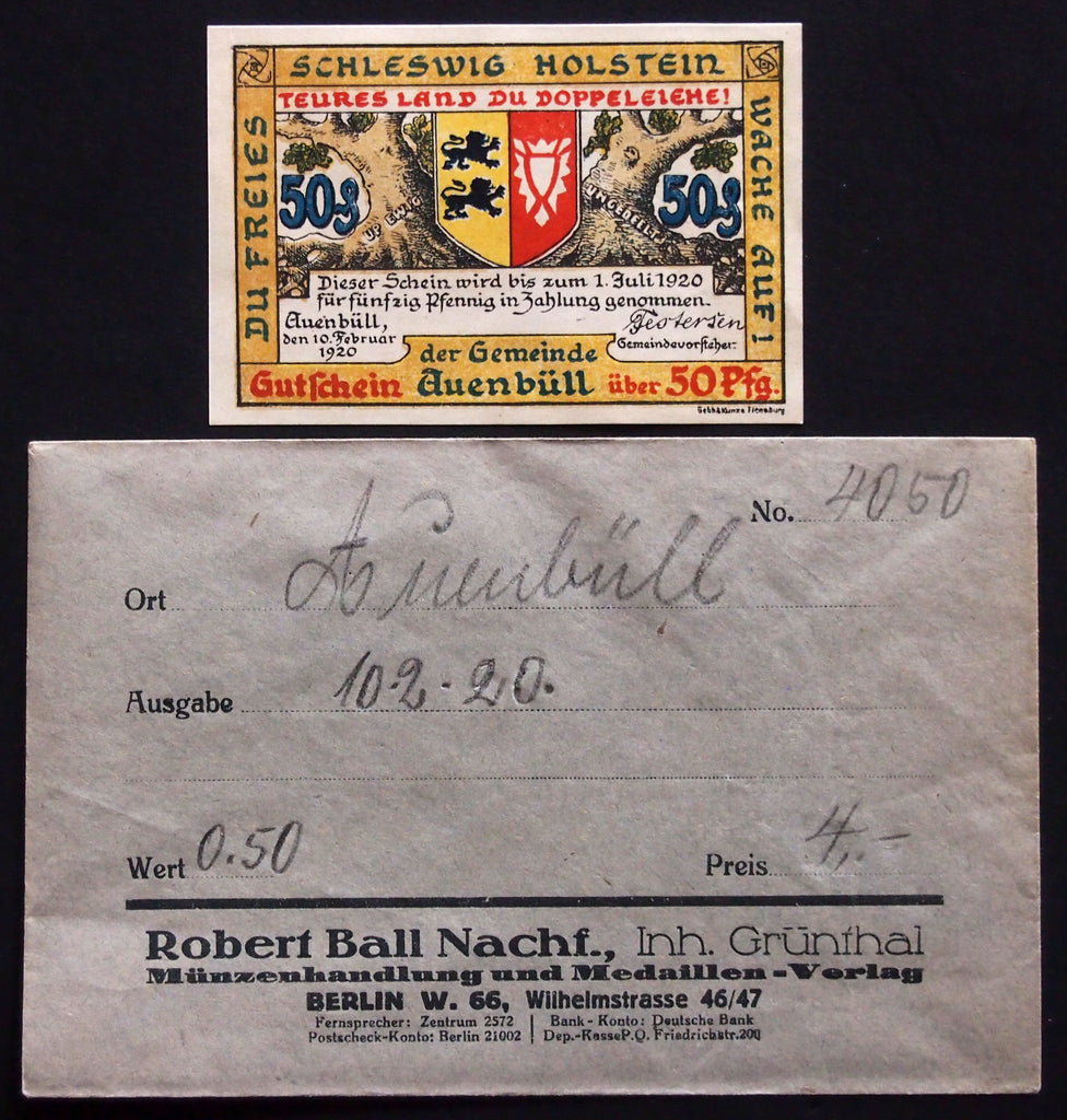 "AUENBÜLL 1920 ""Plebiscite"" *BLACK* Lion!! in Robert Ball envelope! German Notgeld Denmark"