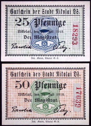 NIKOLAI 1918 rare serial variant! complete set circulating German Notgeld today Poland