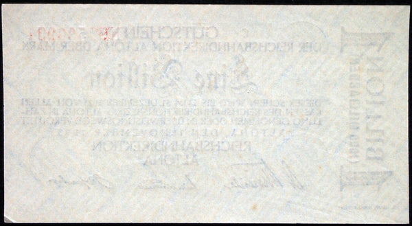 ALTONA REICHSBAHN 1923 1 Trillion Mark Railroad Inflation Notgeld Hamburg 53925