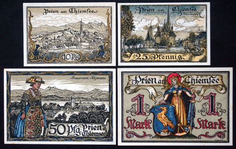 "PRIEN 1920 ""Bavarian Woman in Tracht"" complete series German Notgeld"