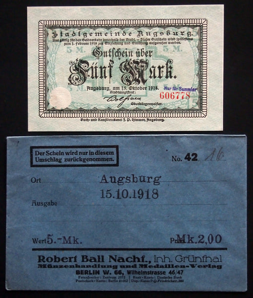 AUGSBURG 1918 5 Mark Grossnotgeld in RARE 1920s Robert Ball dealer envelope! German Notgeld