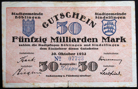BÖBLINGEN and SINDELFINGEN 1923 50 Billion Mark Inflation Notgeld Boblingen