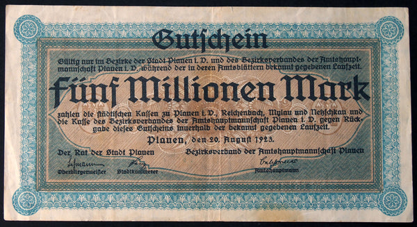 PLAUEN 1923 5 Million Mark Inflation Notgeld German Banknote