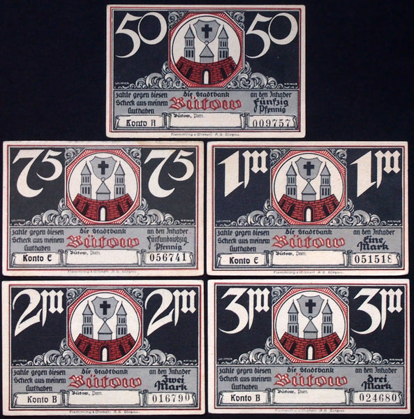 BÜTOW 1922 complete series German Notgeld Pommern today Poland