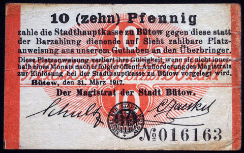 BÜTOW 1917 *RARE* 10 Pf circulating WWI German Notgeld today Poland