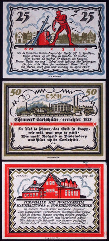"BÜDELSDORF 1921 ""Executioner/Iron Foundry/Gym"" complete series German Notgeld"