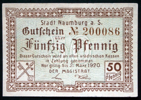 NAUMBURG 1917 50 Pf circulating WWI German Notgeld