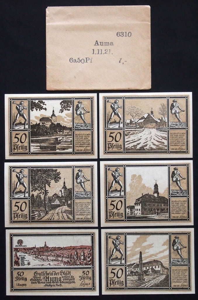 "AUMA 1921 ""Eagle/Sower Motif"" complete in RARE Robert Ball envelope! German Notgeld"