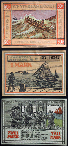 "WESTERLAND 1921 ""Rowboat on the Waves"" complete series German Notgeld"
