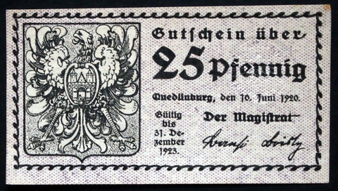 QUEDLINBURG 1920 25 Pf circulating Notgeld Germany