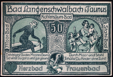 "LANGENSCHWALBACH 1920 ""Fertility Mudbath"" 1 Mark German Notgeld"