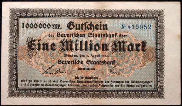 "BAVARIA 1923 ""Bayerische Staatsbank"" 1 Million Mark Inflation Notgeld Banknote 419952"