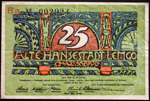 LEMGO 1921 *Previously Undocumented Ba Series!* 25 Pf German Notgeld