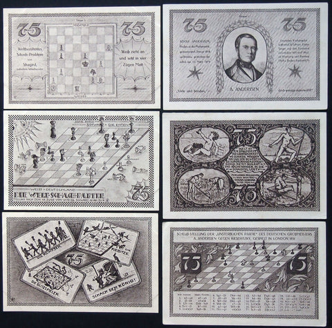 "KAHLA 1921 ""Chess Series"" complete rare set German Notgeld"