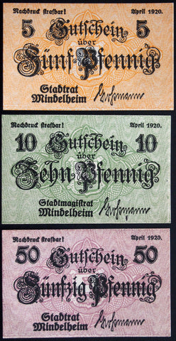 MINDELHEIM 1920 complete set circulating Notgeld Germany Bavaria